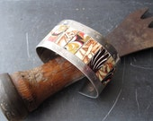Mixed Tin Cuff, Coral, Cream  and Dark Brown , Vintage Tins, Industrial Chic, 10th Anniversary Artisan Jewelr