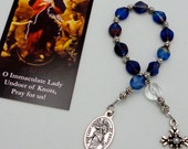 Our Lady Undoer of Knots Roman Catholic One Decade Chaplet in Czech Glass Table Cut Window Beads