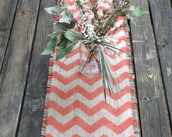 Hand Painted Chevron Table Runner 12-14 x 84 to 108 in Rustic Orange/Modern Dining Decor by sweetjanesplan