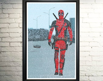 Deadpool word art print -11x17""
