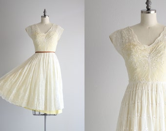 1950s Full Skirt Dress . 50s Dress . Yellow Lining White Eyelet Dress