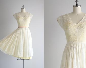 1950s Full Skirt Dress . 50s Dress . Yellow Lining White Eyelet Dress