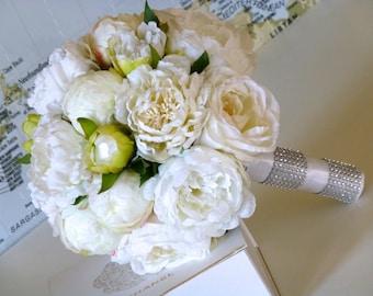 White Peony Wedding Bouquet - PURE ROMANCE, Silk peony  bridal bouquet, Peony  bouquet, Destination weddings, White peony  wedding bouquet
