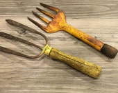 """Two Vintage Rustic Hand Rake with Yellow Wood Handles 10 1/2""""-12"""" -rustic garden, hand rake, garden tool, rake, vintage tool, vintage garden"""