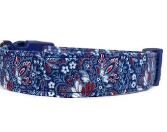 Paisley Dog Collar /  Blue Dog Collar / Boy Dog Collar / Navy dog collar / Blue paisley dog collar / Blue Red dog collar
