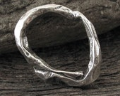 Extra Large Oval - Thick and Chunky Organic Link in Sterling Silver- Artisan Silver Connector- AC204