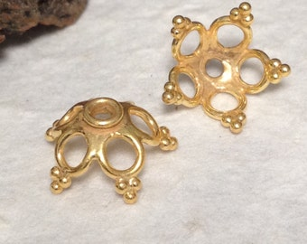 SALE - Vermeil Bead Caps - 2  Beading Caps with Dotted Tips - 11.75mm Large  MB355