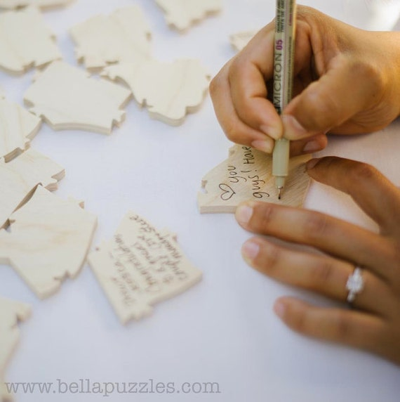 50 pc Wedding Guest Book Puzzle, custom guestbook alternative, WOOD puzzle guest book, Bella Puzzles™, rustic wedding, boho wedding