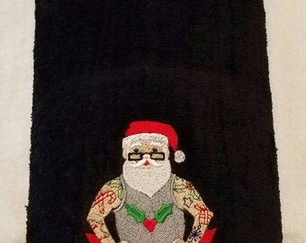 Tattoo Santa Bathroom Hand Towel