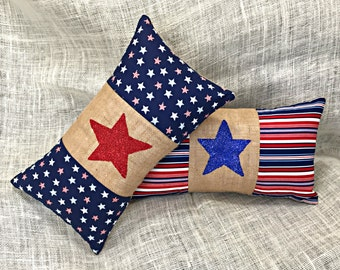Summer Patriotic Pillows, Set of 2 READY TO SHIP, Red White Blue, Stars and Stripes Pillows, July 4, Memorial Day, Veterans Day, Child Room