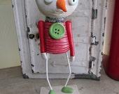 SALE Christmas folk art Snowman sad little face by Janell Berryman Pumpkinseeds art
