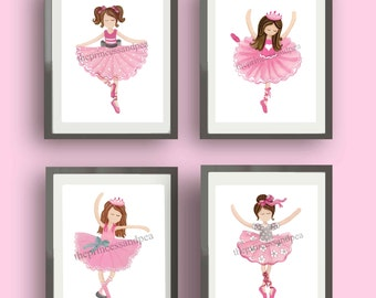 Ballerina art, ballet girls  art prints, pink brown nursery art, children's art prints, dance set of 4 prints