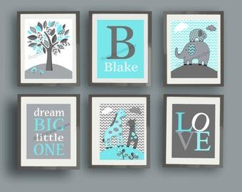 blue gray art, elephant nursery art, giraffe art prints, chevron baby nursery, baby boy wall art decor