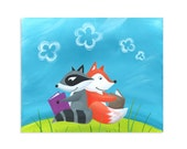 Fox and Raccoon Reading Forest Print