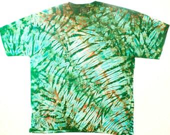 XXL Shibori Dyed Men's T Shirt Moss Green Turquoise Tie Dye