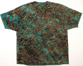 XXXL Shibori Men's Tie Dye T Shirt Big Jade Green Tie dye 3X