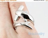 SALE Sterling Silver Hammerhead Shark Ring Size Adjustable