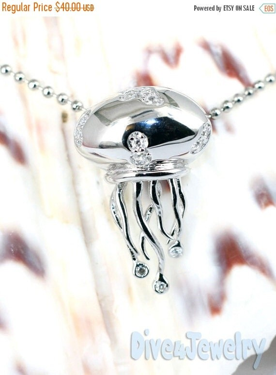 SALE Sterling Silver Cz Jellyfish Pendant Necklace