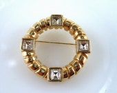 Givenchy Brooch Gold and Crystal Rhinestone Brooch Signed