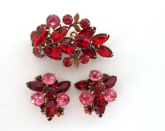 Red Pink Rhinestone Brooch and Earring Set