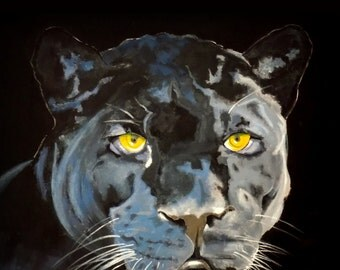 The Black Panther, Golden eyes, Wild Life, Original illustration Artist Print Wall Art, Free Shipping in USA.