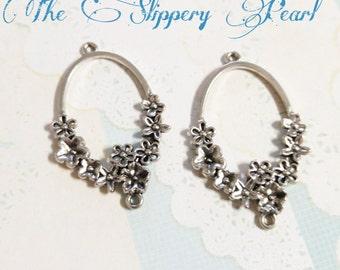 Chandelier findings etsy chandelier earring findings earring drops shiny silver pendants ornate floral 4 pieces aloadofball Gallery