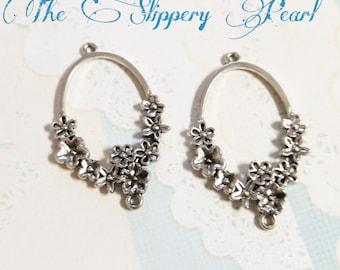 Chandelier Earring Findings Earring Drops Shiny Silver Pendants Ornate Floral 4 pieces