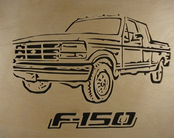 Ford F-150 Wall Hanging Art Decor Portrait Handmade From Birch Wood