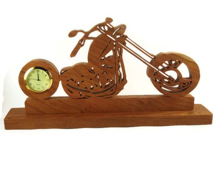 Motorcycle Chopper Bike Desk Clock Handmade From Cherry Wood By KevsKrafts With Quartz Clock Insert