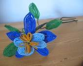 1930's Glass Seed Bead Flower, Blue