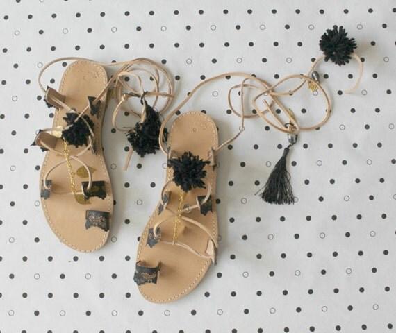 Black Gladiators, pompom sandals, womens sandals, lace sandals