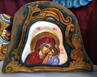 Hand Painted Icon Theotokos On Carved Marble 30x40cm