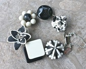 Vintage Earring Bracelet, Bridesmaid Gift, Black, White, Boho, Reclaimed, Silver, Flower, Jennifer Jones, Mod, Hippie, OOAK - Night Lily