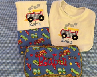Baby Wipes Case, Burp Cloth, Bib Combo