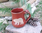 Bare Bear Mug - Brown Clay Wild Animal Silhouette Art Rustic Rust Red Handmade Pottery Coffee, Tea Cup