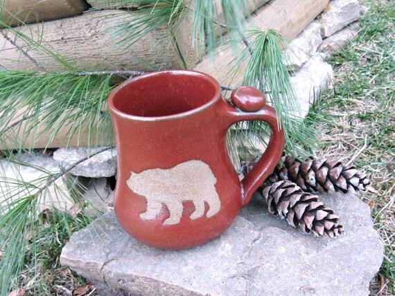 Bare Bear Mug - Brown Clay Wild Animal Silhouette Art Rustic Rust Red Handmade Pottery Coffee, Tea Cup