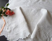 Exceptional Vintage French Pillow Cases Pair Euro Shams in Fine Linen with Rich Embroidery