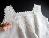 Valentine Gift French Vintage Nightgown Fine Linen with Exquisite Hand embroidery