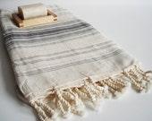 SALE 50 OFF/ BathStyle Turkish Beach Bath Towel Peshtemal / Natural - Gray / Wedding Gift, Spa, Swim, Pool Towels and Pareo