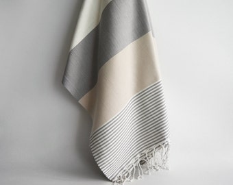 BathStyle / Turkish Beach Bath Towel / Classic Peshtemal / Gray Beige / Wedding Gift, Spa, Swim, Pool Towels and Pareo