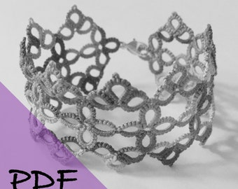 PDF file shuttle tatting pattern for Lucky Lace bracelet