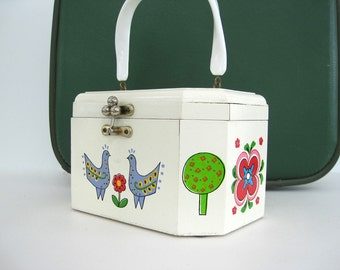 Vintage Wood Box Purse Walborg Lucite Handle Retro Floral Tree Peacocks Birds Flowers White Cream Liiac Pink Green Made in Japan