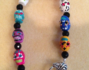 Hand Painted Sugar Skull and Black Onyx Faceted Bead Bracelet with Rose Toggle Clasp