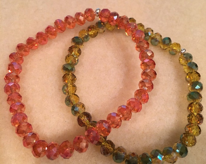 Faceted Autumn Orange & Yellow-Green Aurora Borealis Crystal Bead Stretch Bracelet Set with Sterling Silver Accent