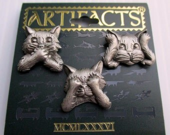 Vintage JJ  Kitty cat pins- Jonette Jewelry - Artifacts 1986 collectible, unique gift under 20- cat lover- new old stock