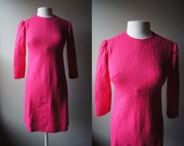 Vintage MAD MEN Dress Bright Pink Dress Fitted Dress Long sleeve dress Small Dress Medium Dress Stretchy Dress body con 60's Dress Pink