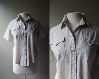 Vintage Pearl Snap Shirt Short Sleeve Pearl Snap Shirt Pearl Snap Buttons Plaid Pearl Snap Hipster Western Shirt Rodeo Shirt 45 Collection