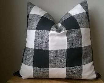 Designer Fabric buffalo check plaid pillow cover black white neutral rustic luxe toss cushion throw euro sham lumbar solid rustic chic