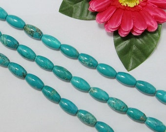 Natural Turquoise 10x20mm olive shape Loose Beads