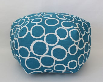Floor pouf / Lots of Colors / Freehand Circles / foot stool / floor pillow / ottoman pillow / floor cushion - Dorm decor - fun home decor